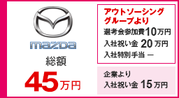 マツダ 選考会参加費5万円 内定祝い金2万円 入社祝い金22万円