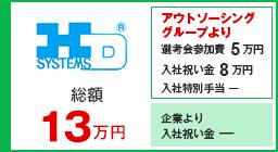 ハーモニック・ドライブ・システムズ 入社祝い金13万円