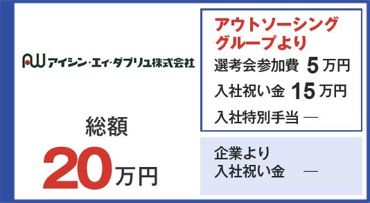 アイシン・エイ・ダブリュ 選考会参加費5万円 入社祝い金15万円