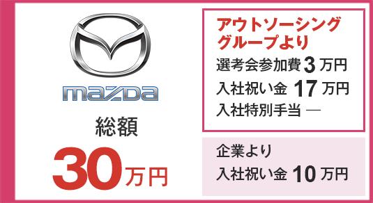 マツダ 選考会参加費10万円 入社祝い金35万円