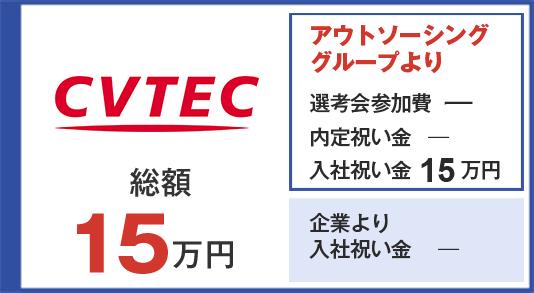 シーブイテック 入社祝い金15万円
