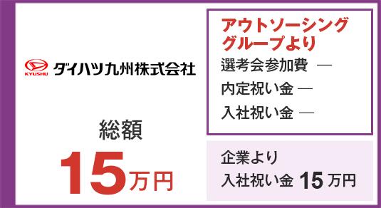 日産車体九州 入社祝い金15万円